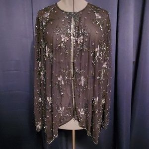 Draper's&Damon's Beaded Mesh Cardigan 3X